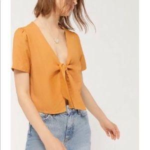 orange tied front top